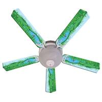 Green Alligator Print Blades 52in Ceiling Fan Light Kit - Multi