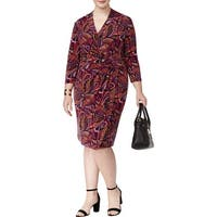 Anne Klein Purple Womens Size 0X Plus Faux Wrap Sheath Dress