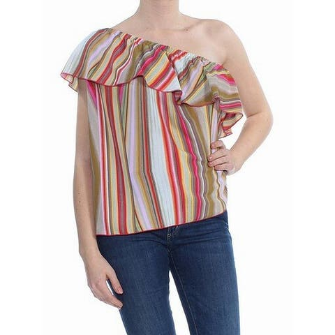 Rachel Rachel Roy Women's Pink Size Small S Striped Ruffle Trim Blouse