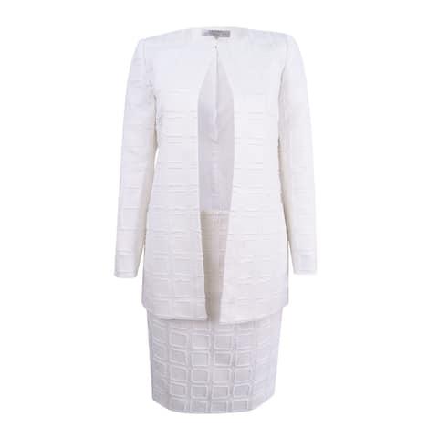 Tahari ASL Women's Petite Topper Skirt Suit - White