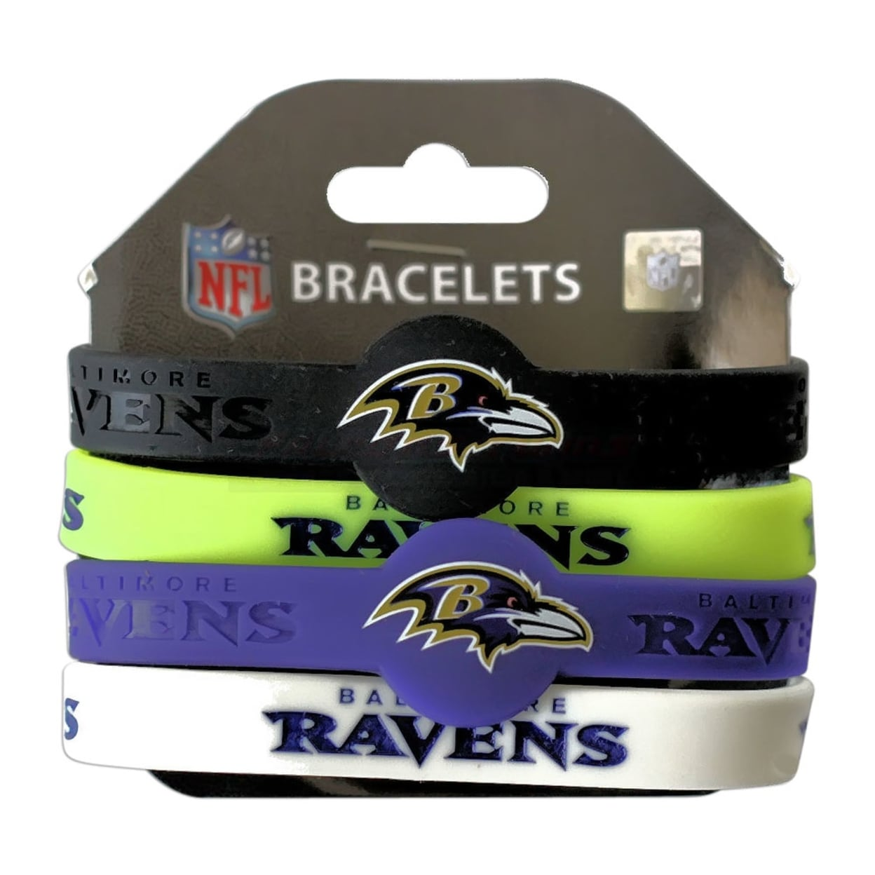 aminco Baltimore Ravens Silicone Rubber Wrist Band Bracelet Set of 4
