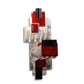 """Statements2000 3D Metal Wall Sculpture Red/Silver Abstract Modern Art Decor by Jon Allen - Red Bird - 14"""" x 32.5"""""""