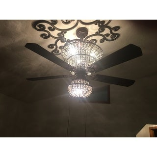 Charla 4-light Crystal 5-blade 52-inch Chandelier Ceiling Fan (Optional Remote)