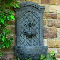 Sunnydaze Rosette Leaf Outdoor Wall Fountain, 31 Inch Tall