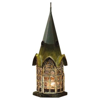 House Architectural Candle Holder Lantern - Green Patina Pickford House - 4.75 in. x 12 in.