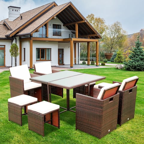 Merax Outdoor Patio 9 Piece Wicker Dining Set with Cushions