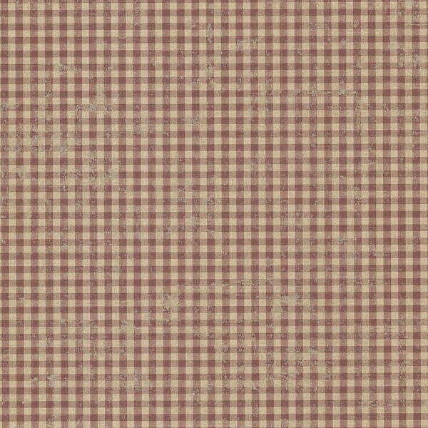 Brewster CTR44017 Greer Burgundy Gingham Check Wallpaper - burgundy gingham - N/A