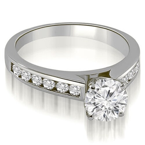 1.50 cttw. 14K White Gold Cathedral Channel Round Cut Diamond Engagement Ring