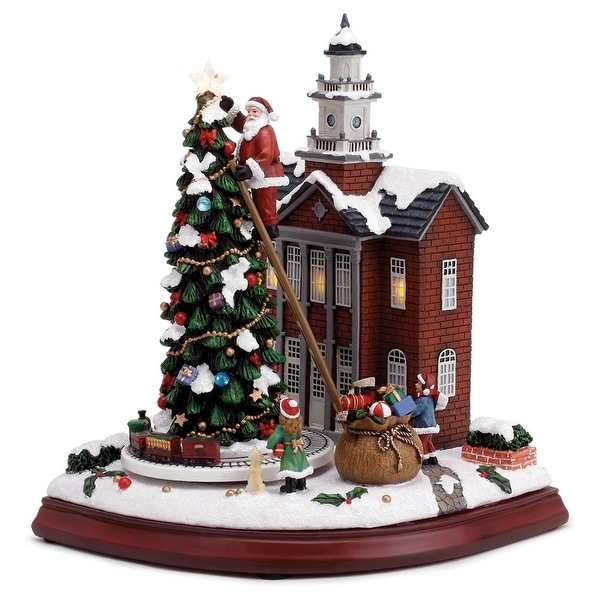"10"" Battery Operated Town Hall with Rotating Train Musical Christmas Table Figure - green"