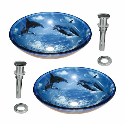 """Blue Dolphin Tempered Glass Countertop Vessel Sink 16.5"""" Round Glass Bowl Heat Resistant with Chrome Drain Pack of 2"""