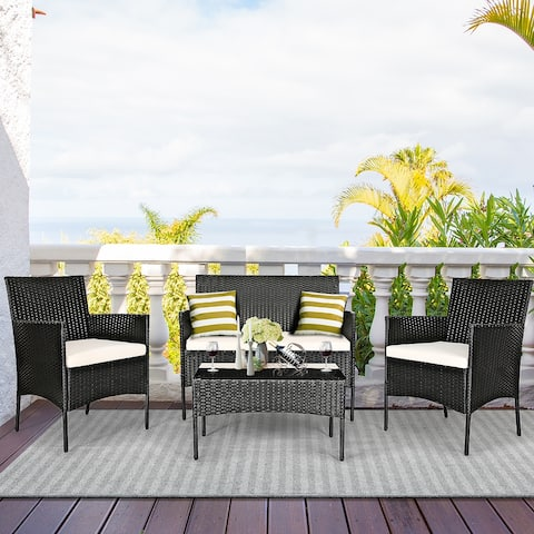 Costway 4PCS Patio Rattan Furniture Set Cushioned Sofa Coffee Table