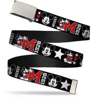 Blank Chrome  Buckle Classic Mickey Mouse 1928 Collage Black White Red Web Belt