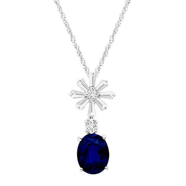 4 1/2 ct Created Blue & White Sapphire Starburst Pendant in Sterling Silver
