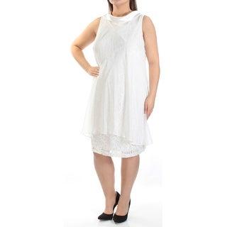Womens Ivory Sleeveless Knee Length Shift Formal Dress Size: 16W