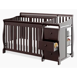 Storkcraft Portofino 4-in-1 Convertible Crib and Changer - Convenient Storage Solution, 3 Spacious Drawers and 3 Open Shelves