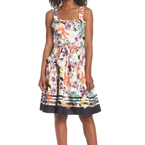 Vince Camuto White Womens Size 10 Floral Ruffle-Trim A-Line Dress