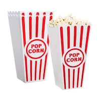 Premius 2-Pack Popcorn Container, Red-White, 7x3.5 Inches - Red/White