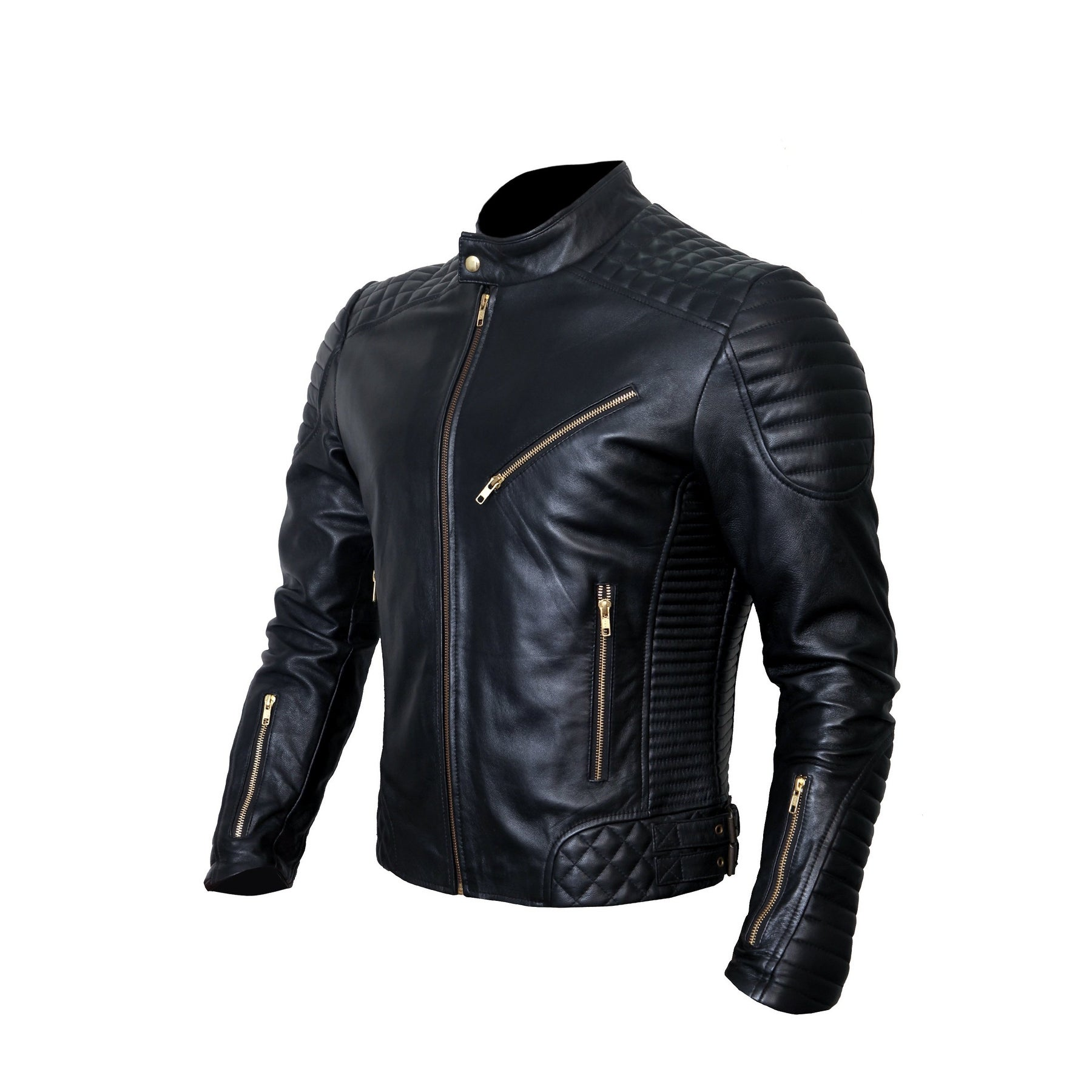 crafat Men Leather Jacket Black Slim Fit Biker Motorcycle Lamskin Jacket 21