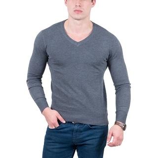 Real Cashmere Anthracite V-Neck Fine Cashmere Blend Mens Sweater