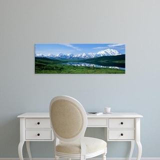 Easy Art Prints Panoramic Image 'Panoramic Mountains Around Lake, Wonder Lake, Mount Mckinley, Alaska' Canvas Art