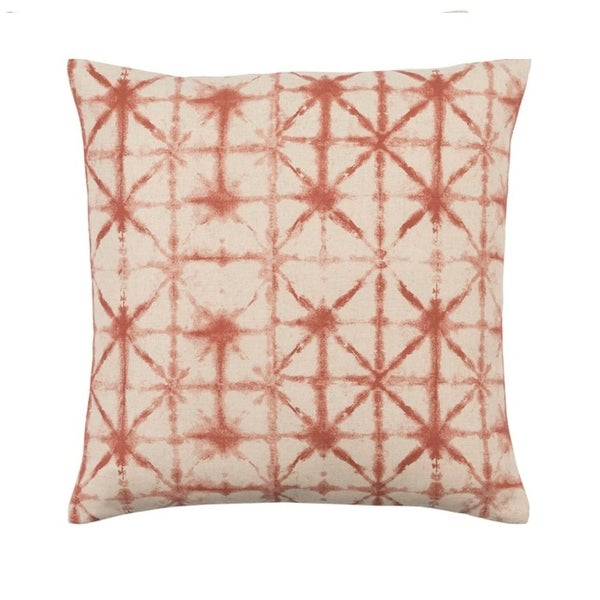 "18"" Rustic Orange and Lace Beige Contemporary Woven Decorative Throw Pillow – Down Filler"