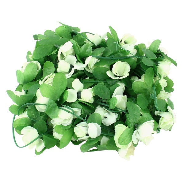 Home Wedding Plastic Artificial Flower Hanging Decoration Ivy Vine Light Green 7.2ft Length 2pcs