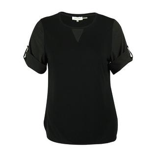 Calvin Klein Women's Short Sleeve Roll Tab Blouse - l