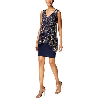 SLNY Womens Cocktail Dress Metallic Mesh Overlay Glitter
