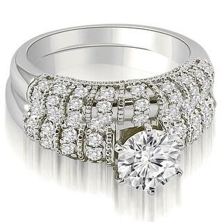 1.85 CT.TW Antique Round Cut Diamond Bridal Set - White H-I (Option: 10.75)