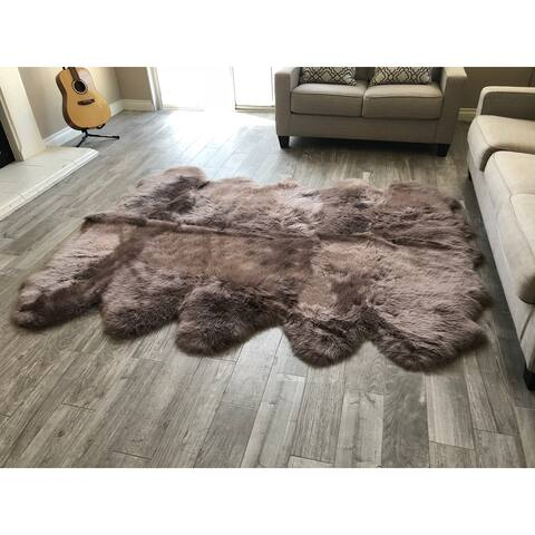 """Dynasty 10-Pelt Luxury Long Wool Sheepskin Paco Brown Shag Rug - 5'5"""" x 8'6"""""""