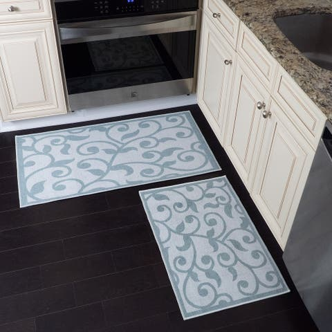 Non Skid Washable Kitchen Runner Rugs Set of 2 - Set of 44 x 24 and 31.5 x 20 Inches Low Pile Floor Mats
