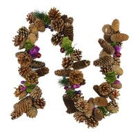 5' Decorative Brown and Purple Pine Cone and Berry Artificial Christmas Garland - Unlit