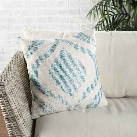 Nikki Chu Cymbal Indoor/ Outdoor Geometric Teal/ Cream Throw Pillow