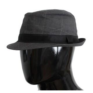 Dolce & Gabbana Gray Cotton Logo Fedora Trilby Hat