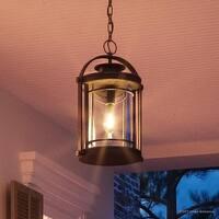 "Luxury MidCentury Modern Outdoor Pendant Light, 18""H x 10.5""W, with Craftsman Style, Black Silk Finish"