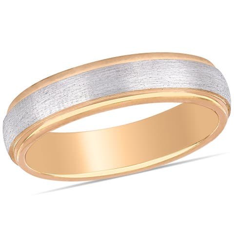 Miadora Ladies Brushed Wedding Band in 2-Tone 10k Rose and White Gold (4mm)