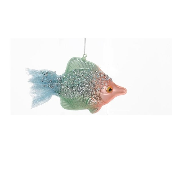 "5.5"" Under the Sea Green Beaded Glass Fish with Salmon Colored Face Christmas Ornament"