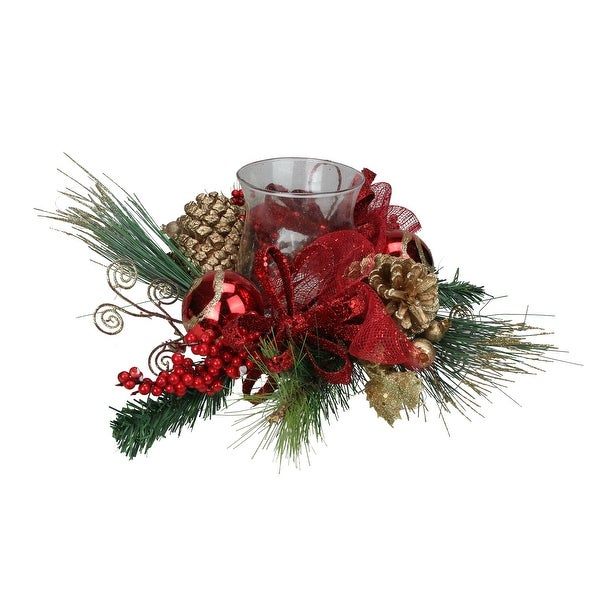 "18"" Green Pine, Red and Gold Glittered Berry Christmas Hurricane Pillar Candle Holder"