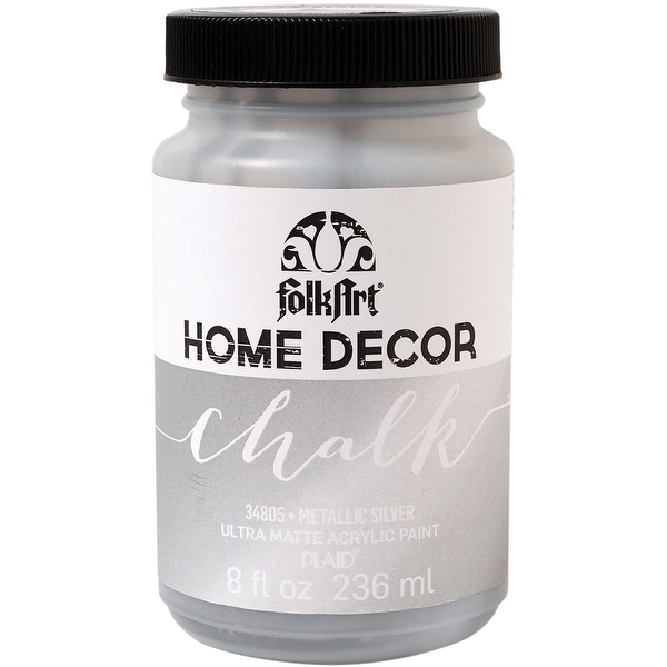 FolkArt Home Decor Chalk Finish Paint Metallic 8oz-Silver - Silver