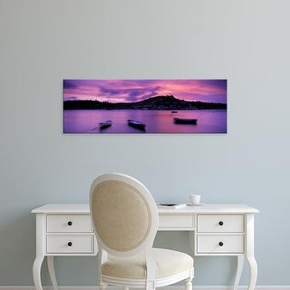 Easy Art Prints Panoramic Images's 'Boats in the ocean, Kingswear, Dartmouth, Devon, England' Premium Canvas Art