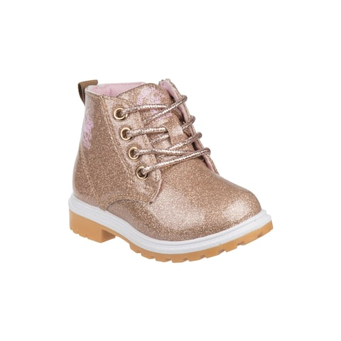Beverly Hills Gold Glitter Lace Up Casual Boots Girls