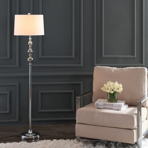 "SAFAVIEH Lighting 62-inch Addie Grey / Chrome LED Floor Lamp - 15"" x 15"" x 62"""