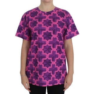 House of Holland House of Holland Pink Purple Cotton Motive T-shirt