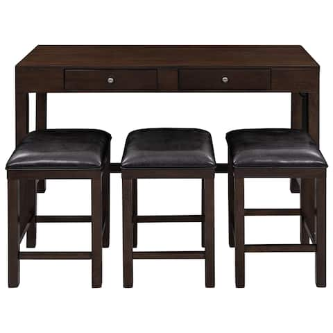 4-Piece Counter Height Table Set with Socket and Leather Padded Stools