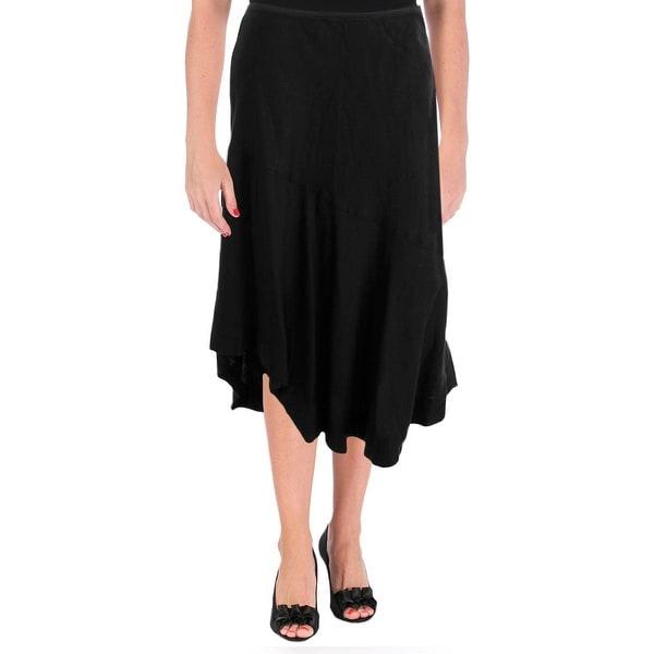 Nic + Zoe Womens Linen Asymmetric A-Line Skirt