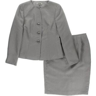 Le Suit Womens Quebec Shimmer 2PC Skirt Suit