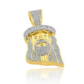 1/2cttw Diamond Jesus Pendant 10K Yellow Gold Small Charm