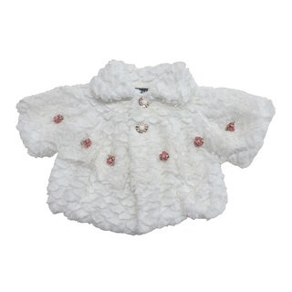 Baby Girls White Lace Flower Embellished Faux Fur Large Sleeve Jacket (Option: 18 Months)