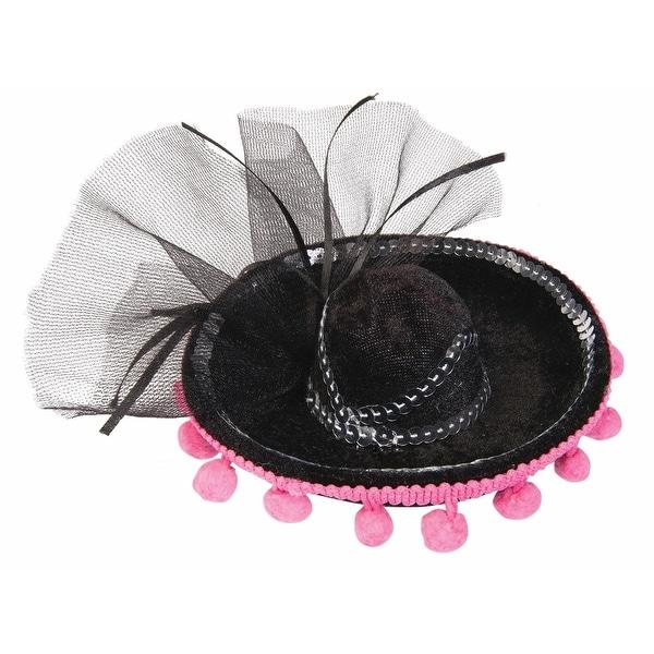 Day Of The Dead Mini Sombrero Costume Hat - Black