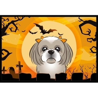 Carolines Treasures BB1808JMAT Halloween Gray Silver Shih Tzu Indoor & Outdoor Mat 24 x 36 in.